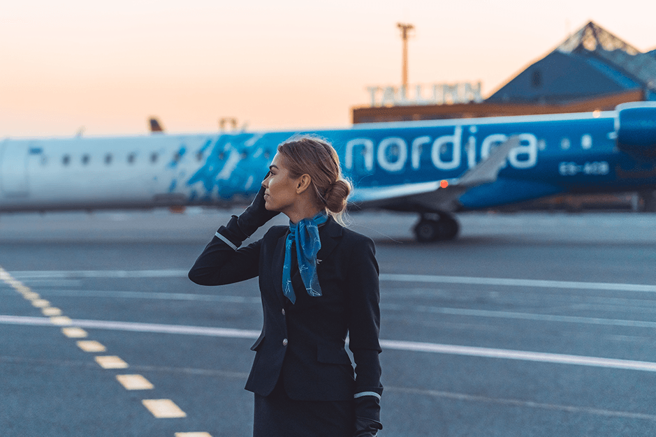 Karjäär Nordicas Salongipersonal Vabad töökohad Career in Nordica Work with Us Cabin Crew Open Positions Nordica FlyNordica Ingel Julge Photo by Lauri Tonisson